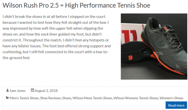 Wilson Rush Pro 2.5 = High Performance Tennis Shoe
