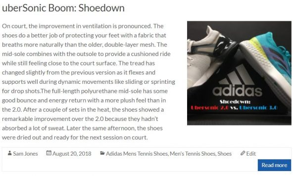 Adidas Ubersonic Shoe Review Blog Thumbnail