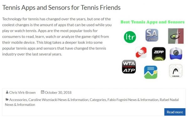 Tennis Apps and Sensors Blog