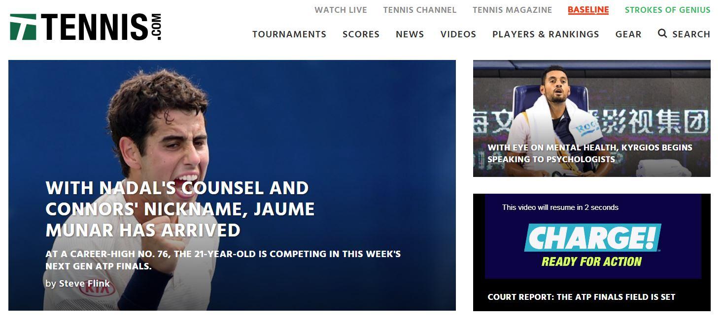 Tennis.com front page website