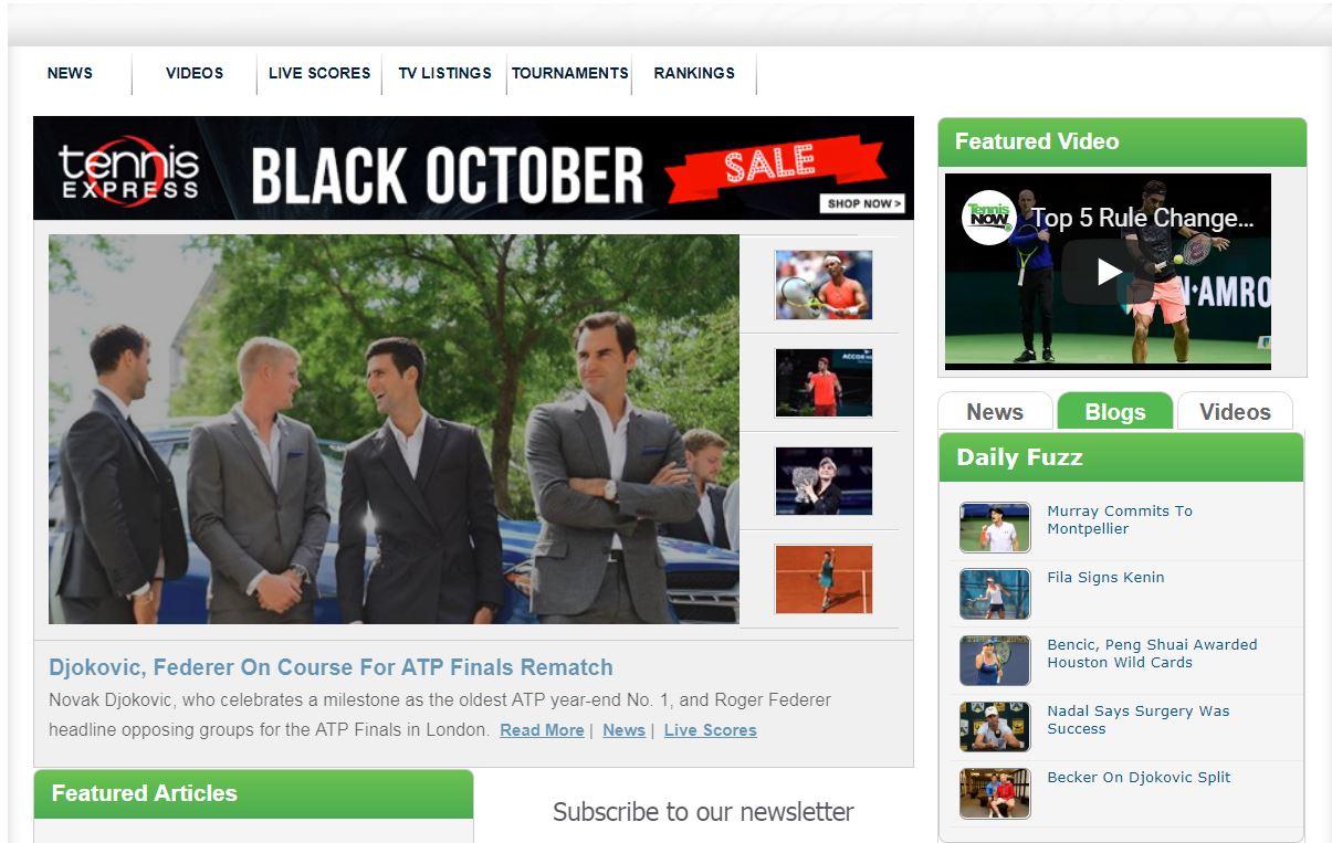 TennisNow website front page