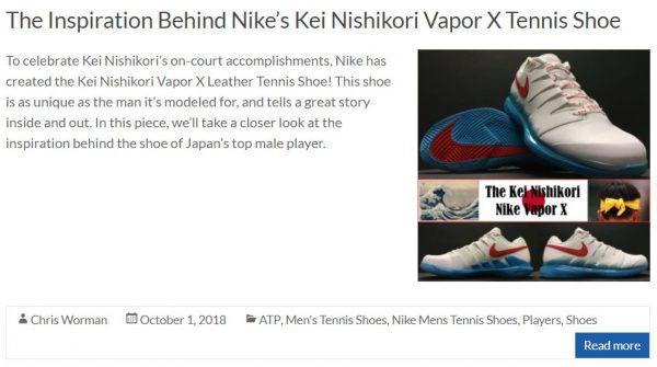 Nike Vapor X Kei Nishikori Inspired Shoe Blog