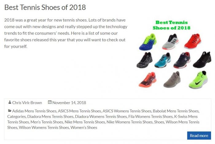 Best Tennis Shoes of 2018 Blog Thumbnail