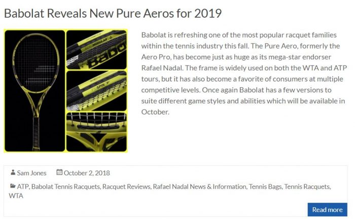 New Babolat Pure Aeros for 2019 Blog Snippet