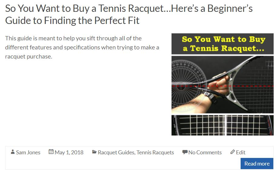 Beginners Guide to Buying a Tennis Racquet Blog Cover