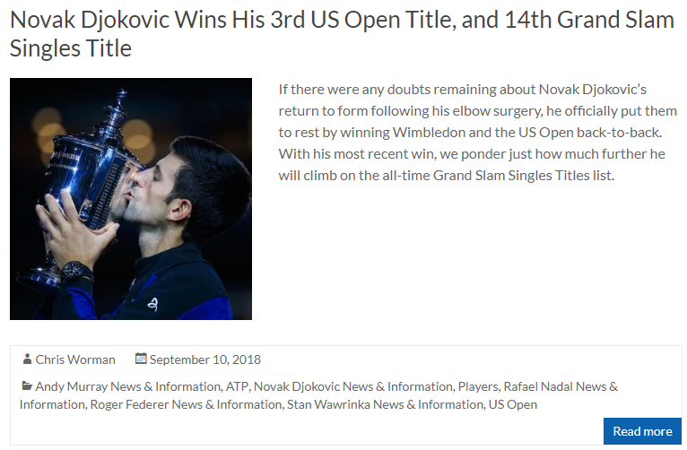 Novak Djokovic Wins His 3rd US Open Title and 14th Grand Slam Singles Title